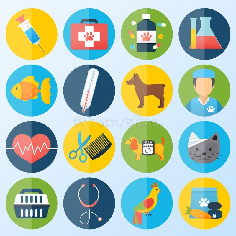 Iconos veterinarios fijados stock de ilustración