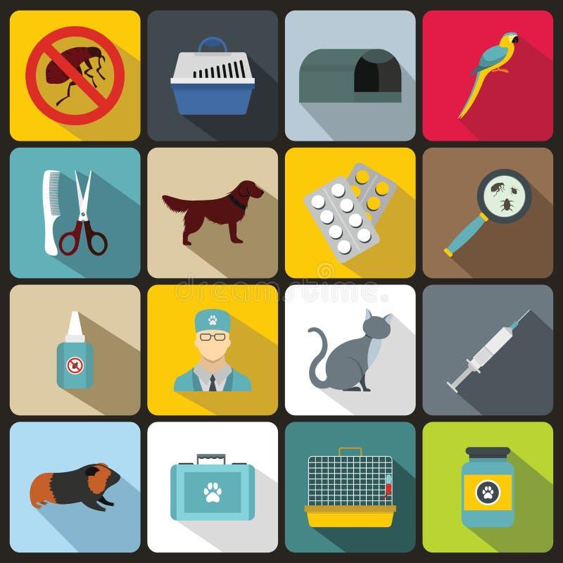 Iconos veterinarios fijados, estilo plano ilustración del vector