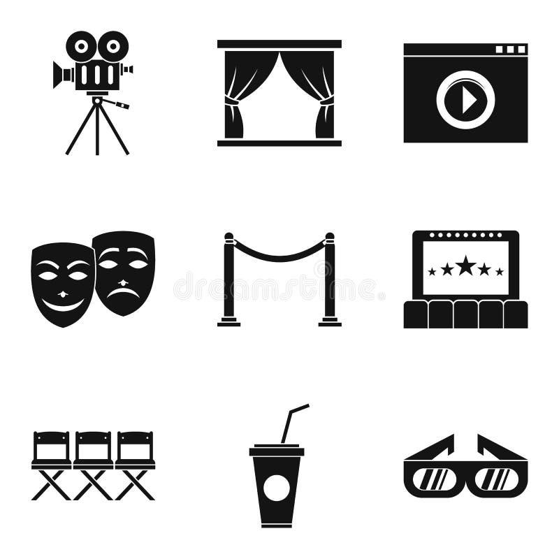 Iconos video fijados, estilo simple del dispositivo stock de ilustración