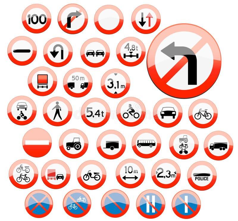Iconos vidriosos de la muestra de camino libre illustration