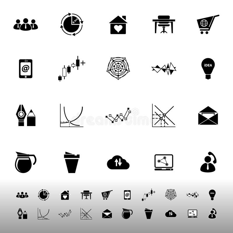 Iconos virtuales de la organización en el fondo blanco stock de ilustración