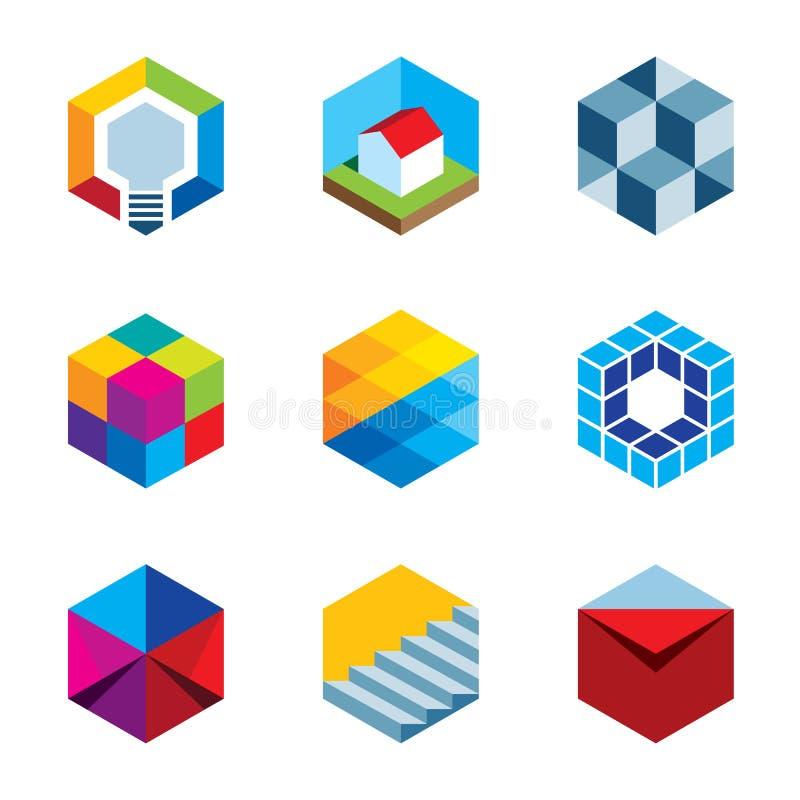 Iconos virtuales futuros del logotipo del cubo del juego de las propiedades inmobiliarias del edificio de la innovación imágenes de archivo libres de regalías