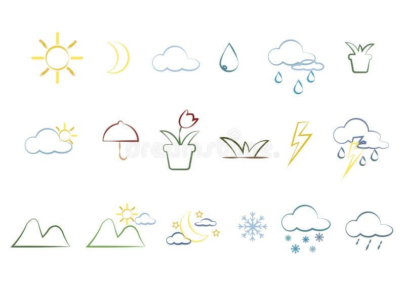 Iconos y accesorios de la naturaleza libre illustration