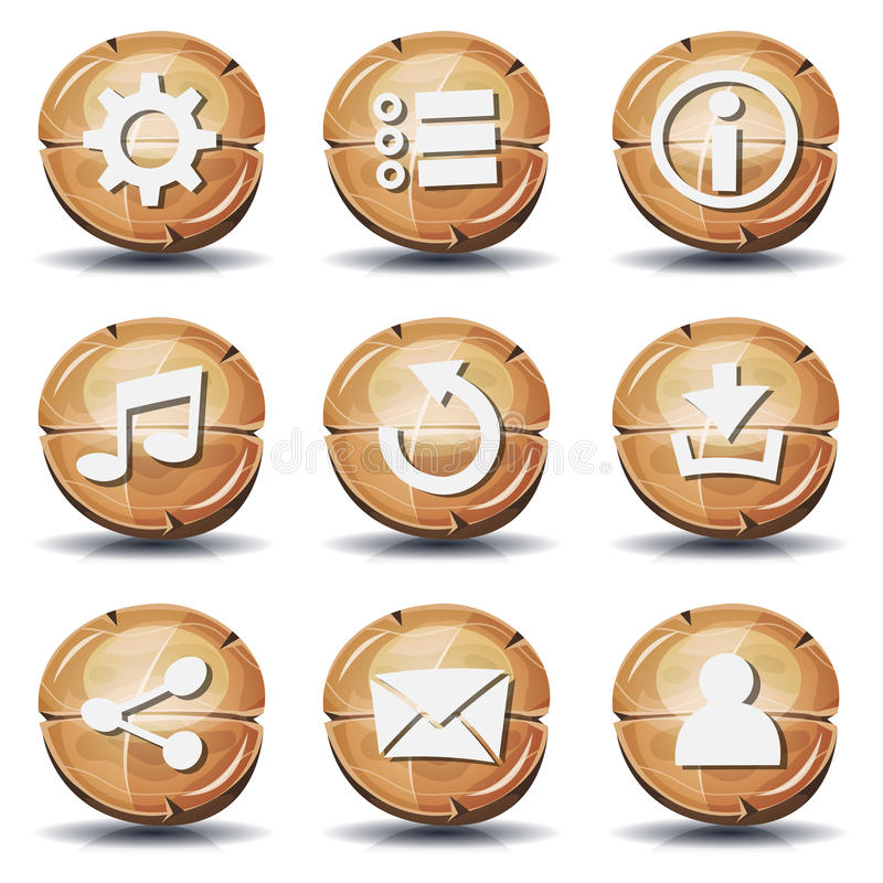 Iconos y botones de madera divertidos para el juego de Ui ilustración del vector