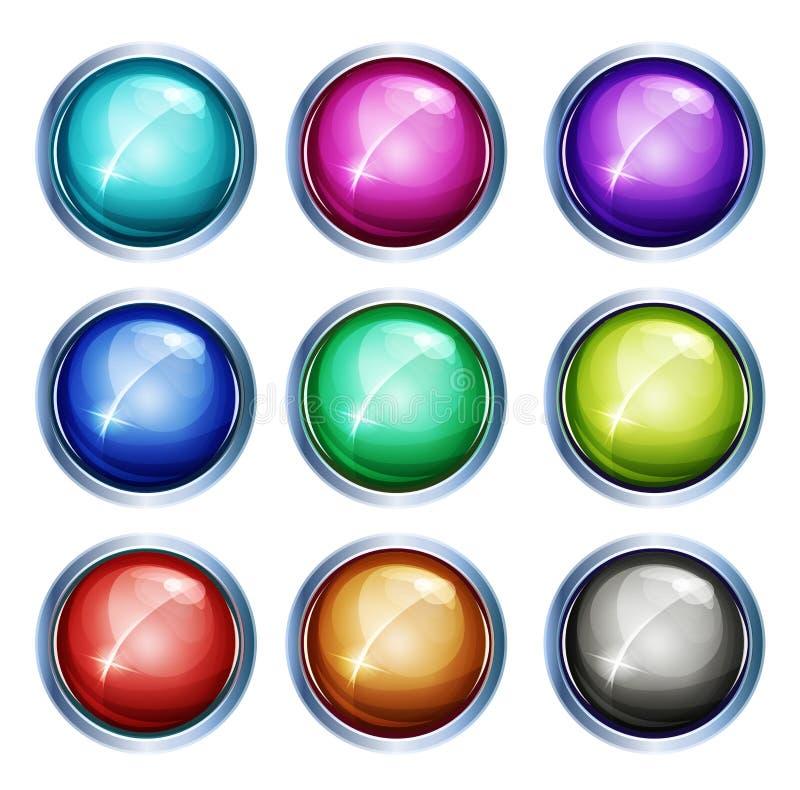 Iconos y botones ligeros redondeados ilustración del vector