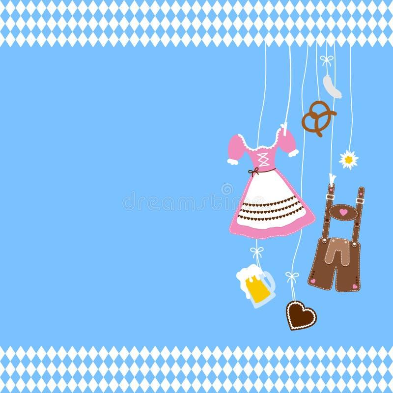 Iconos y Diamond Pattern Borders Blue Background adecuados de Oktoberfest de la ejecución stock de ilustración