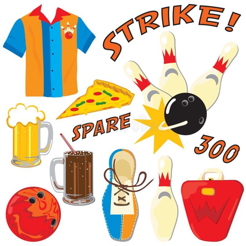 Iconos y elementos del bowling ilustración del vector