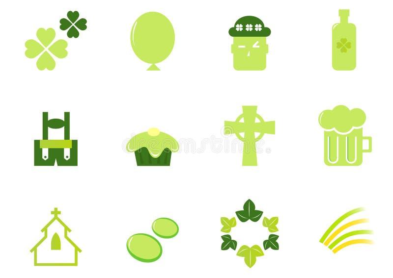 Iconos y elementos del día de San Patricio del irlandés y. ilustración del vector