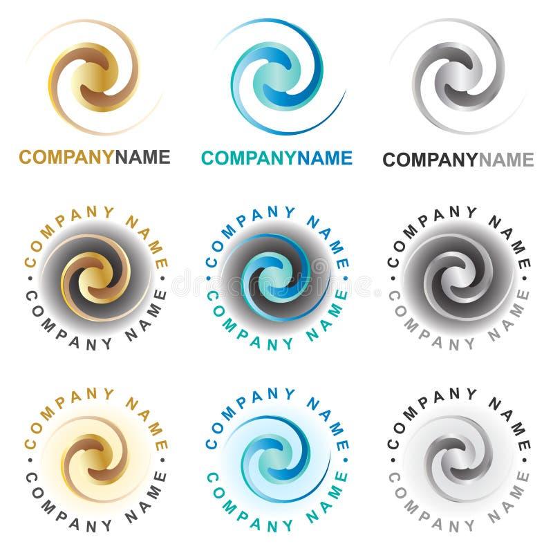 Iconos y elementos espirales del diseño de la insignia stock de ilustración