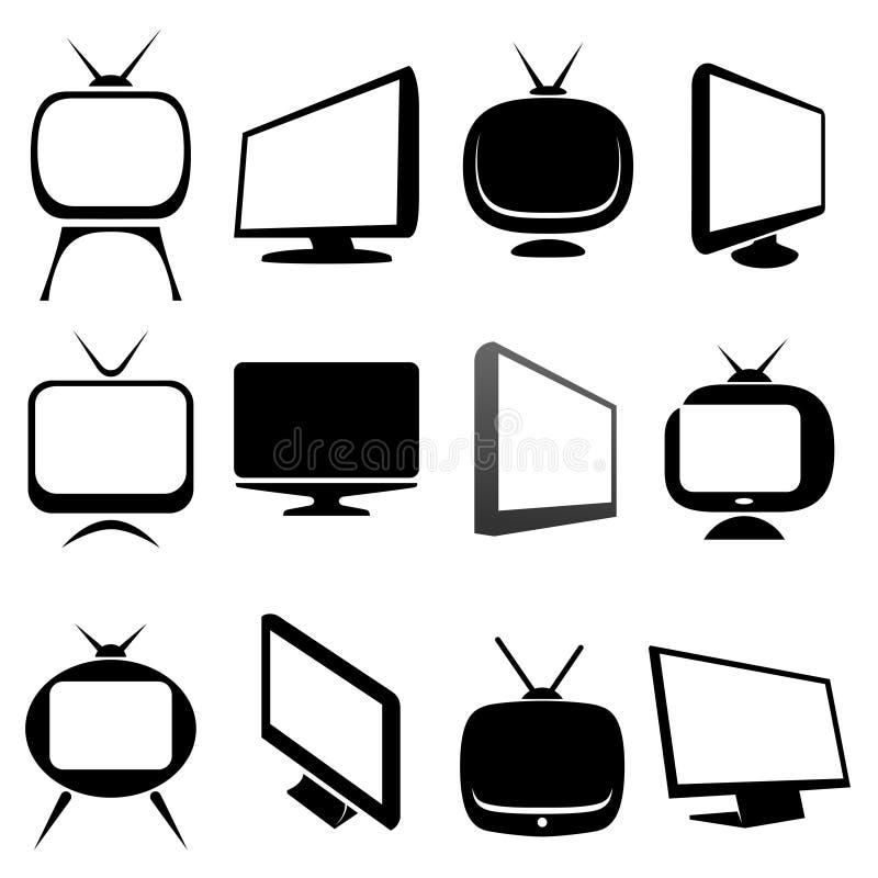 Iconos y muestras de la TV fijados ilustración del vector