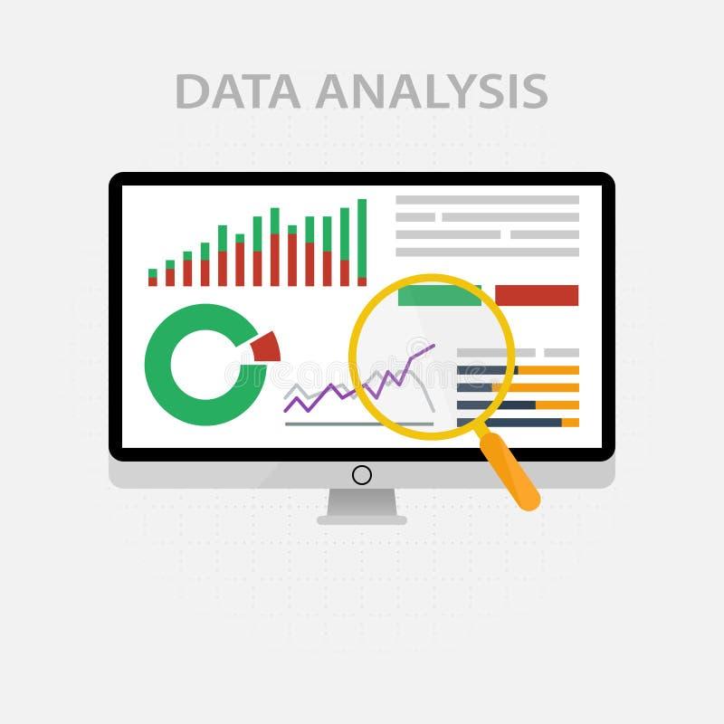 Iconos y muestras del vector para la gestión y el concepto de comercialización de infographic del análisis de datos grande y del  stock de ilustración