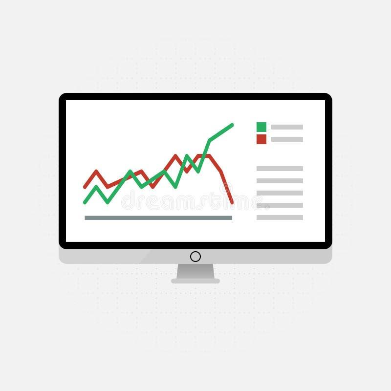 Iconos y muestras del vector para la gestión y el concepto de comercialización de infographic del análisis de datos grande y del  ilustración del vector