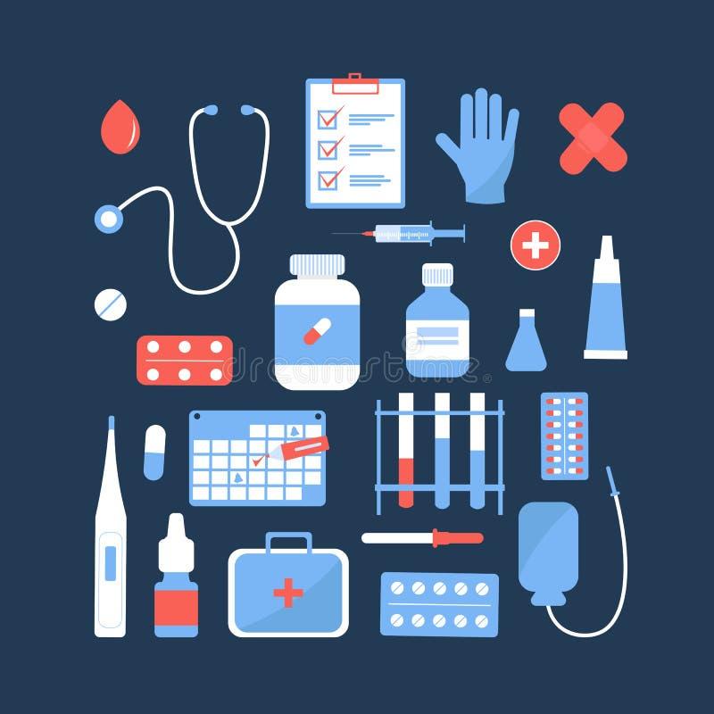Iconos y objetos de la medicina de los artículos libre illustration