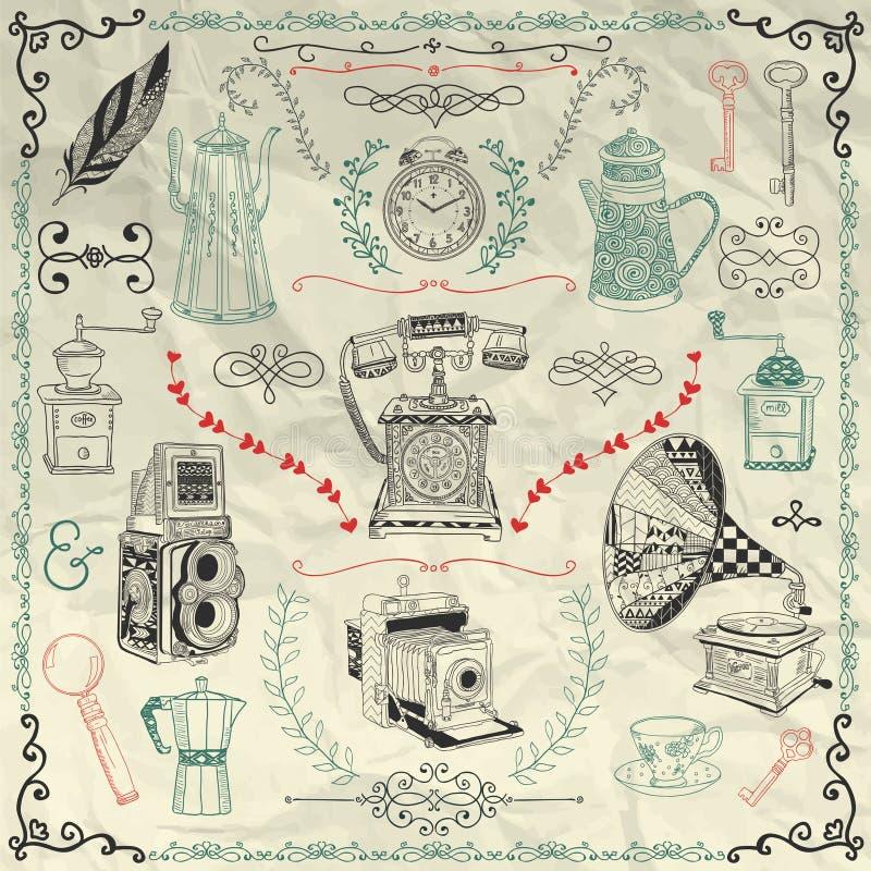 Iconos y objetos del vintage del vector en el papel arrugado ilustración del vector