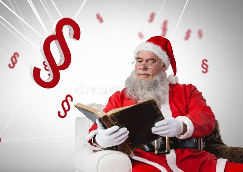 iconos y Papá Noel del símbolo de la sección 3D con el libro en la Navidad stock de ilustración