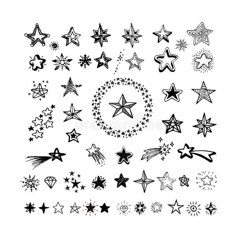 Iconos y pictograma de la estrella Formas de la estrella del negro de la colección ilustración del vector