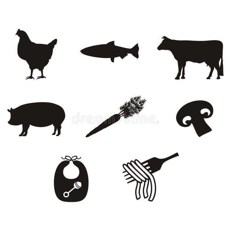 Iconos y símbolos de la comida del menú de la boda para las bodas stock de ilustración