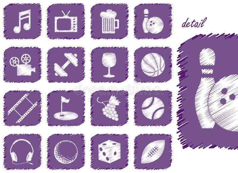 Iconos y símbolos de la reconstrucción stock de ilustración