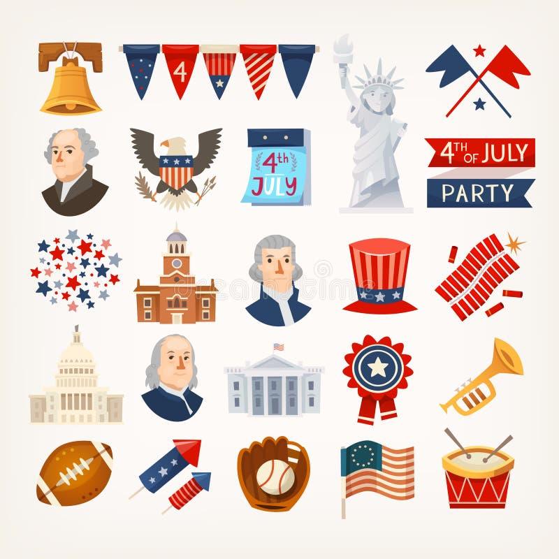 Iconos y símbolos del Día de la Independencia de los E.E.U.U. ilustración del vector