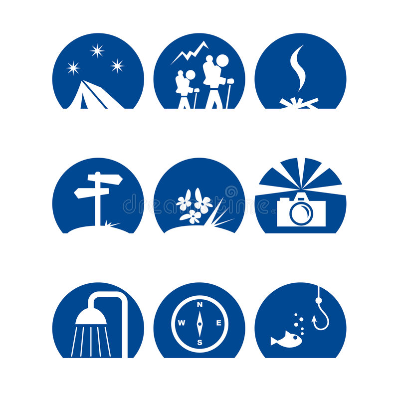 Iconoscamp1. Various symbols for camping and hiking royalty free illustration