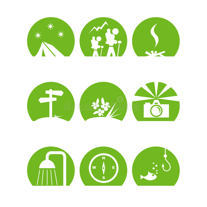 Iconoscampgreen. Some simple camping icons in green vector illustration