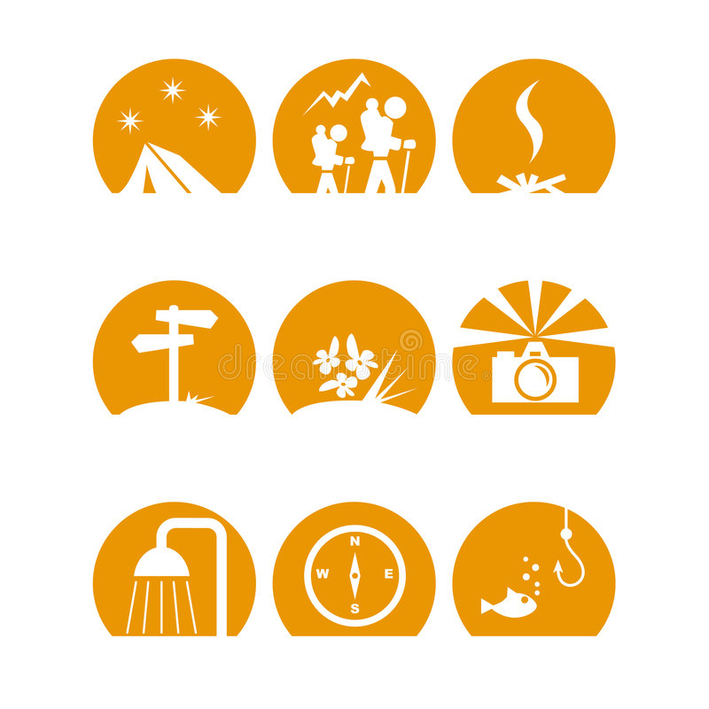 Iconoscamporange. Some simple camping icons in orenge royalty free illustration