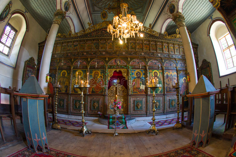The iconostasis of the Church of St. Nicholas in Zheravna royalty free stock image