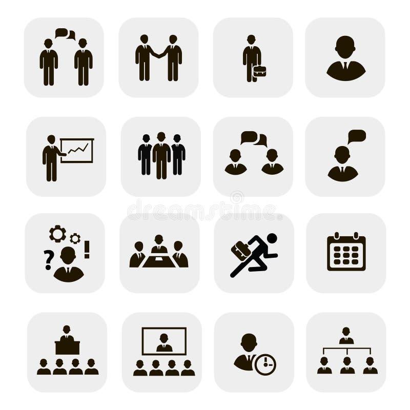 IconsŒŒ för möten och för konferenser för affärsfolk vektor illustrationer