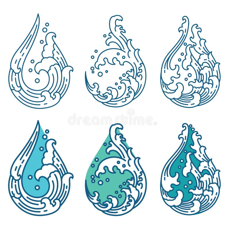 Oriental water wave in droplet shape  icon. Japanese. Thai. vector illustration