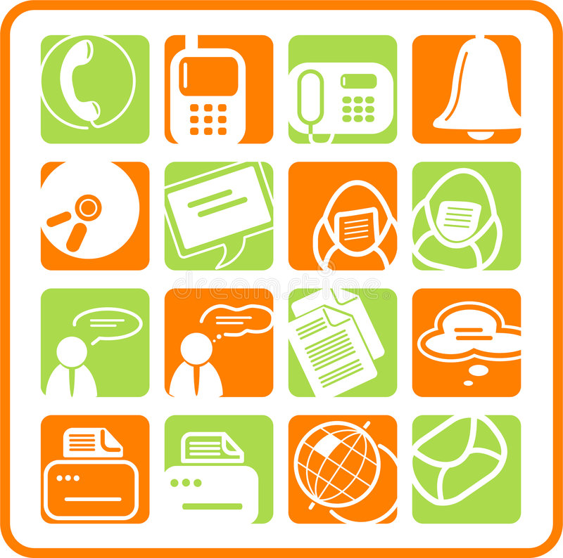 Icons. Miscellaneous office and communication raster icons. Vector version is available in my portfolio royalty free illustration