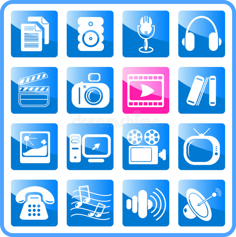 Download Icons stock vector. Image of photo, headphones, objects - 2322019