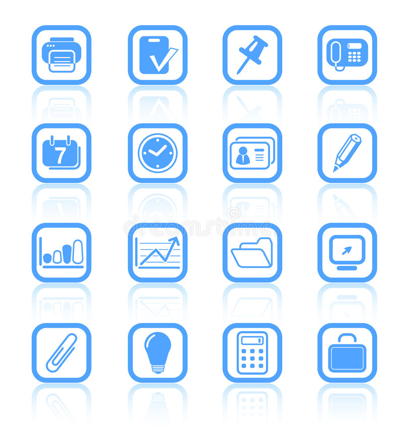 Icons. Miscellaneous office raster icons. Vector version is available in my portfolio stock illustration
