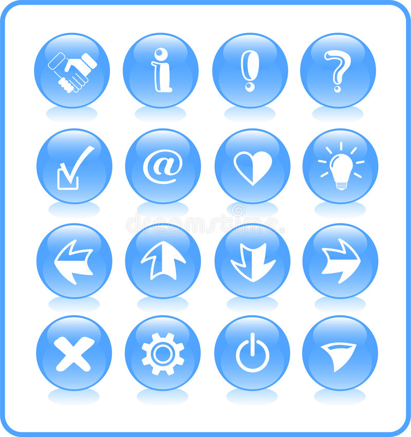 Download Icons stock vector. Image of button, exclamation, internet - 2322561