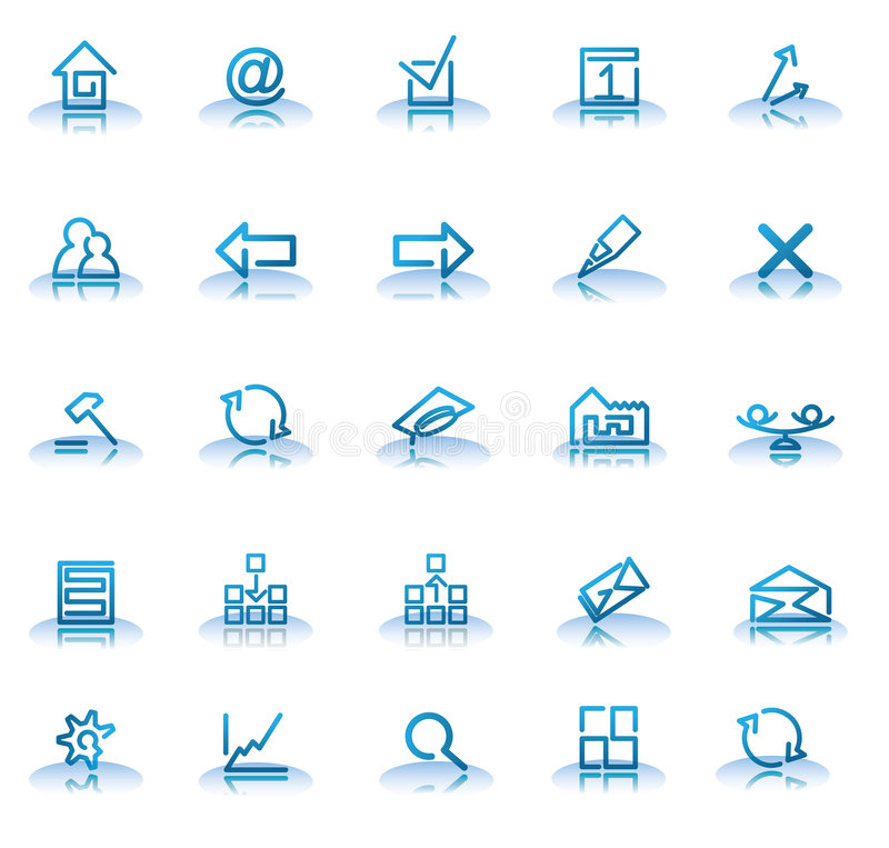 Icons. Set of blue icons for your web site isolated on a white background royalty free illustration