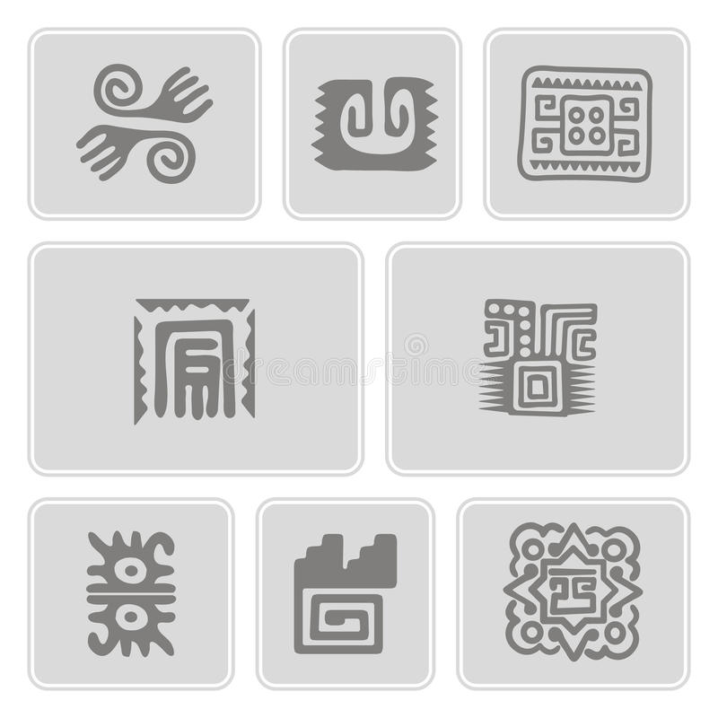 icons with American Indians art and ethnic ornaments stock illustration