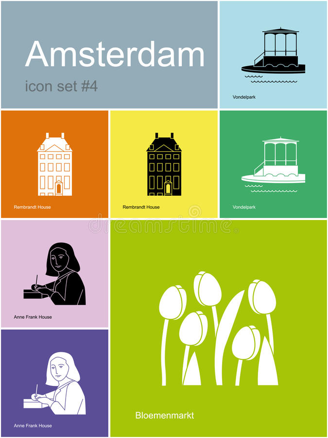Icons of Amsterdam. Landmarks of Amsterdam. Set of flat color icons in Metro style. Editable vector illustration vector illustration