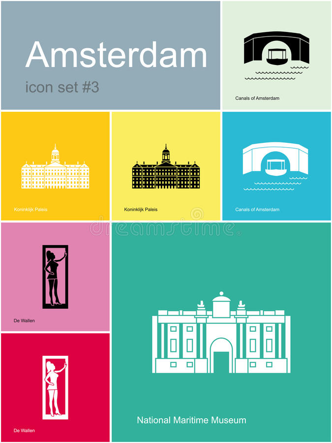 Icons Of Amsterdam Stock Vector