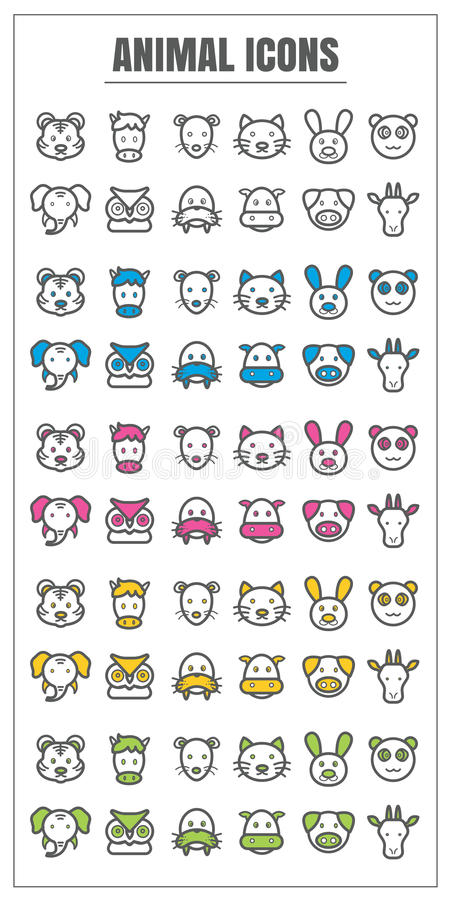 Icons animal thin line color black blue pink Yellow green vector vector illustration