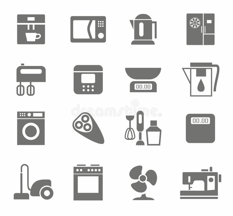 Icons, appliances, monotone, home appliances, white background. Monochrome icons with images of home appliances and electrical goods. White background. For vector illustration