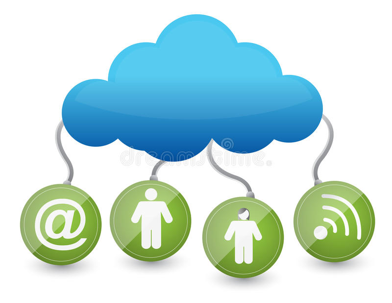 Download Icons Around The Cloud Network Stock Illustration - Image: 28261855