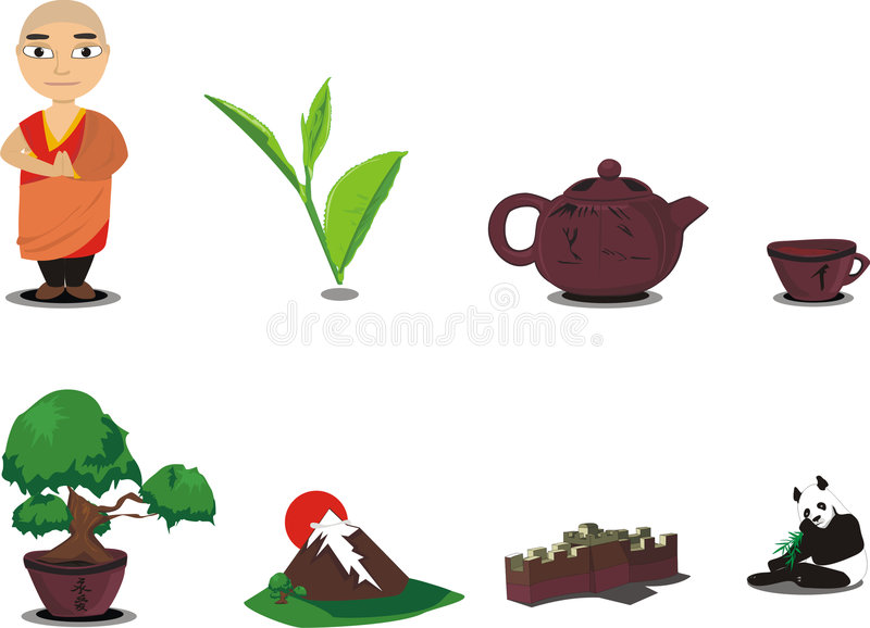 Download Icons Asia stock vector. Image of leaves, computer, animals - 8633688