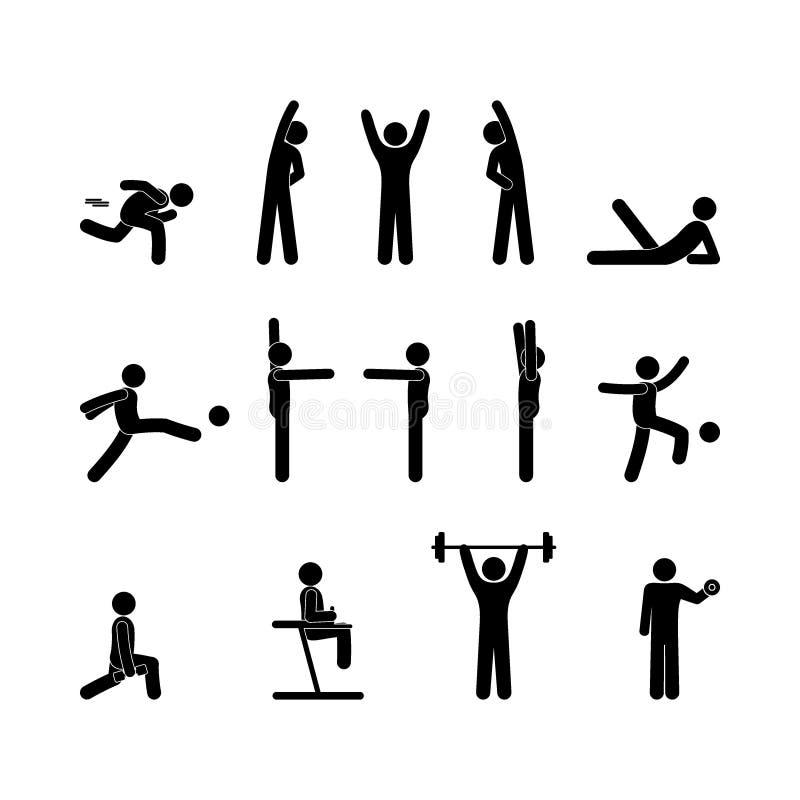 Icons athletes, various sports, stick figure man pictogram vector illustration