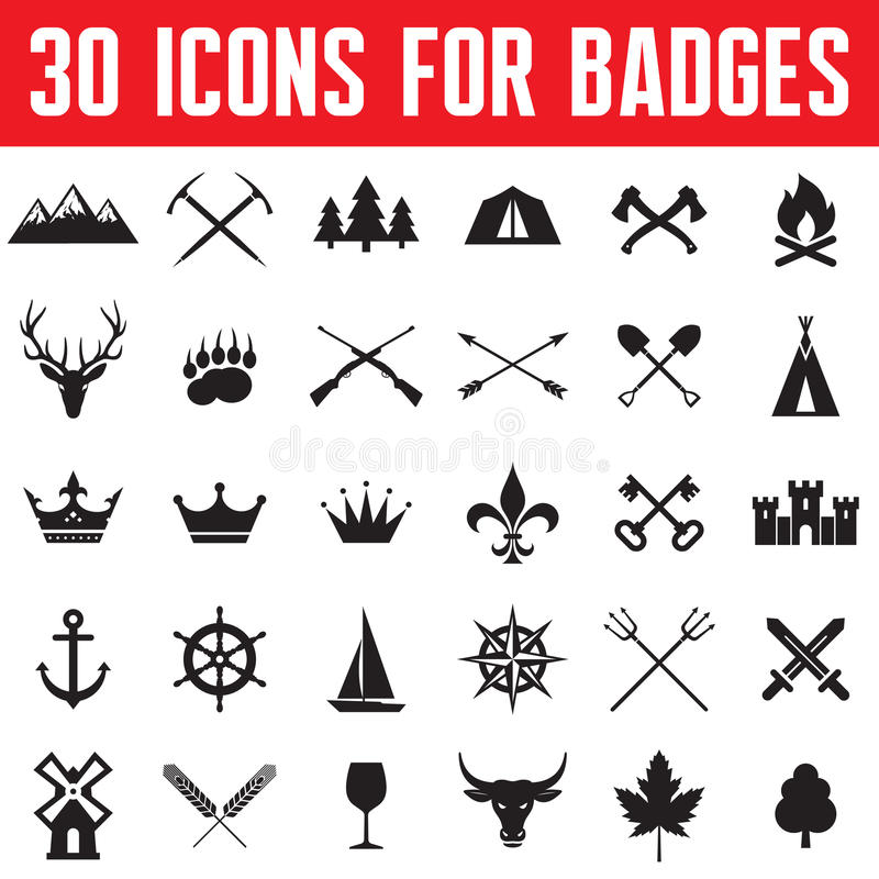 30 Icons for Badges and Design Works vector illustration