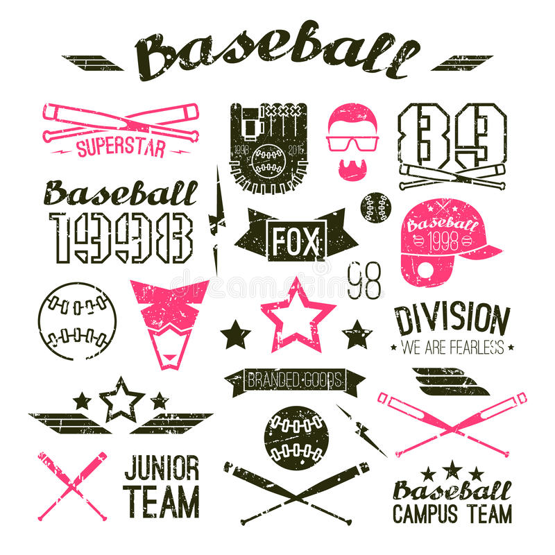 Icons Baseball campus team. In retro style. Graphic design elements print for t-shirt with shabby texture stock illustration