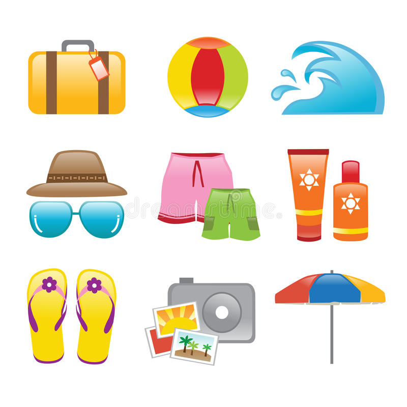 Icons Beach stock illustration