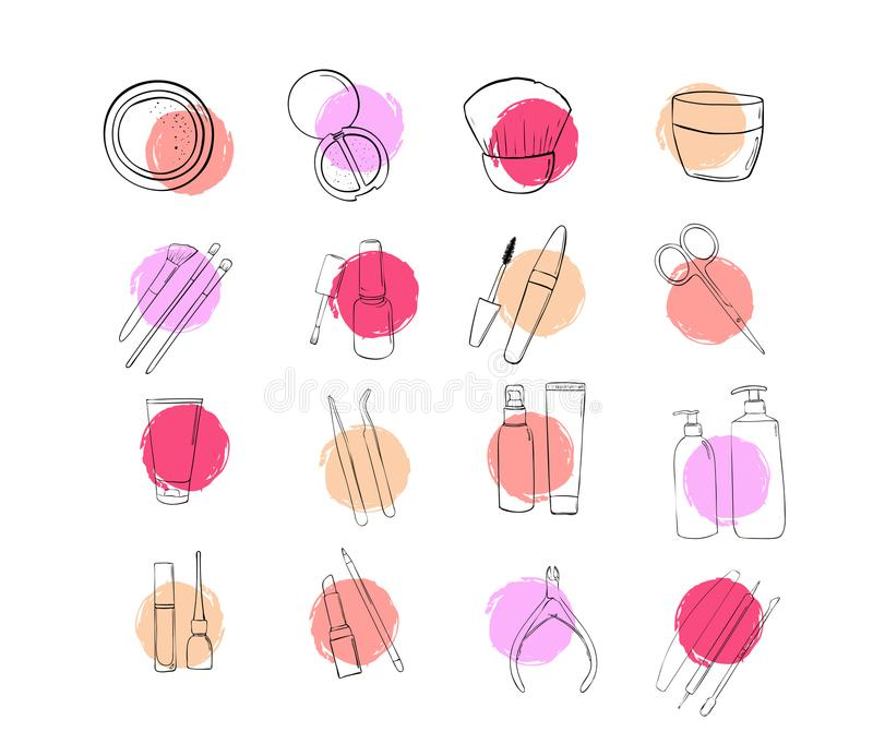 Icons beauty salon. A set of cosmetic make up products. Drawing hands in fashion style. Outline makeup stock illustration