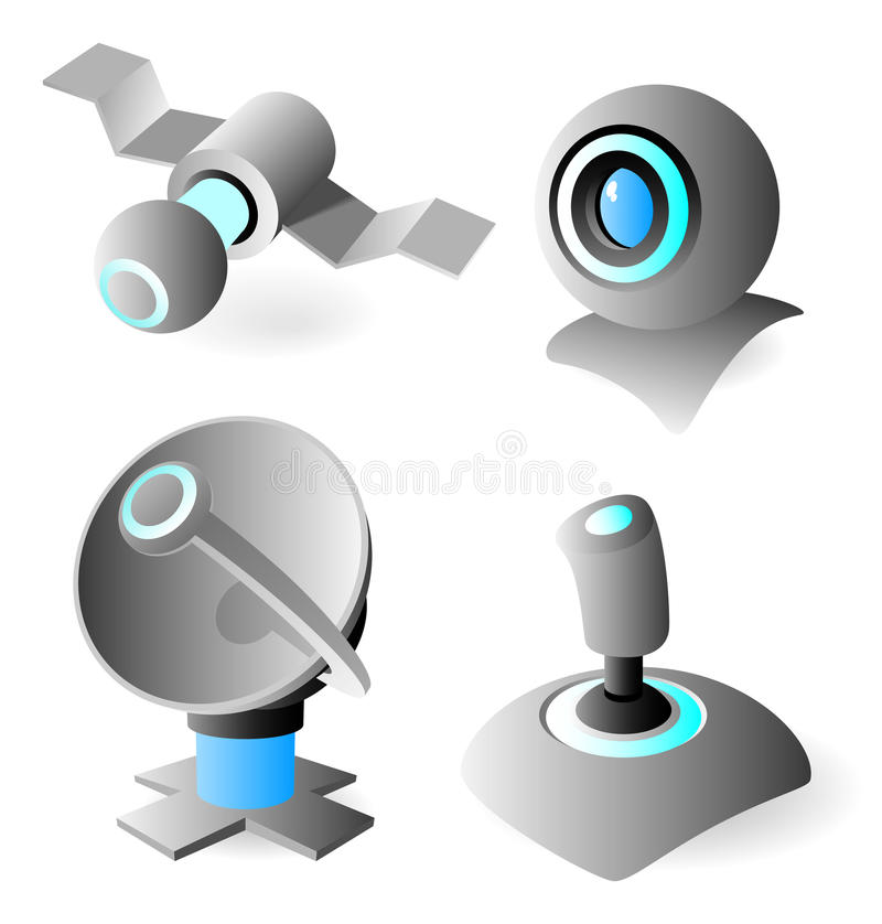 Icons With Blue Glow Stock Image