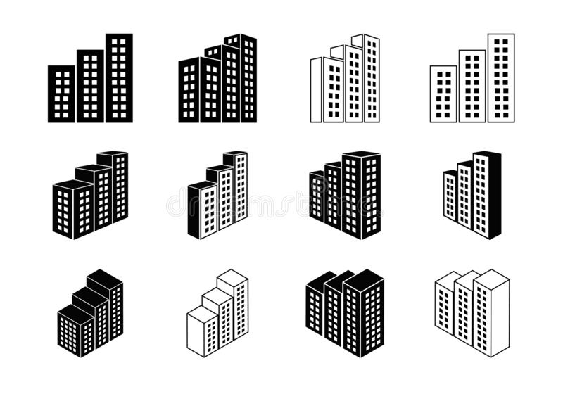 Icons building and company vector set, Perspective bank and office collection, Line modern construction and edifice 库存例证