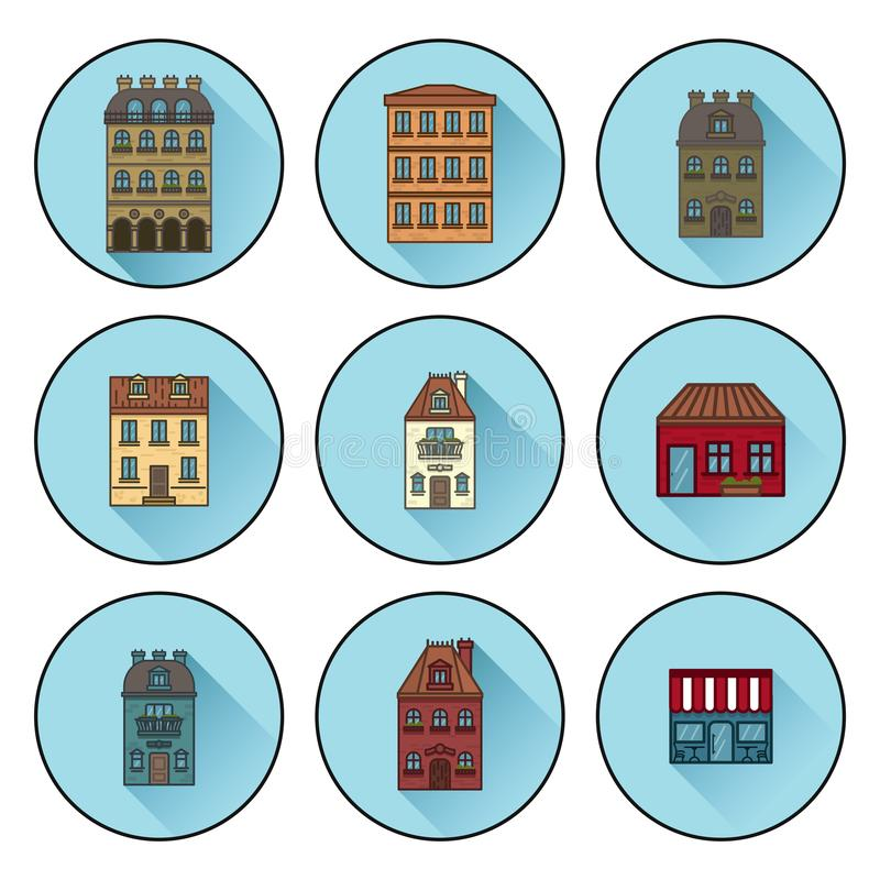 Icons with buildings built in Paris flat linear house icons. vector illustration stock illustration
