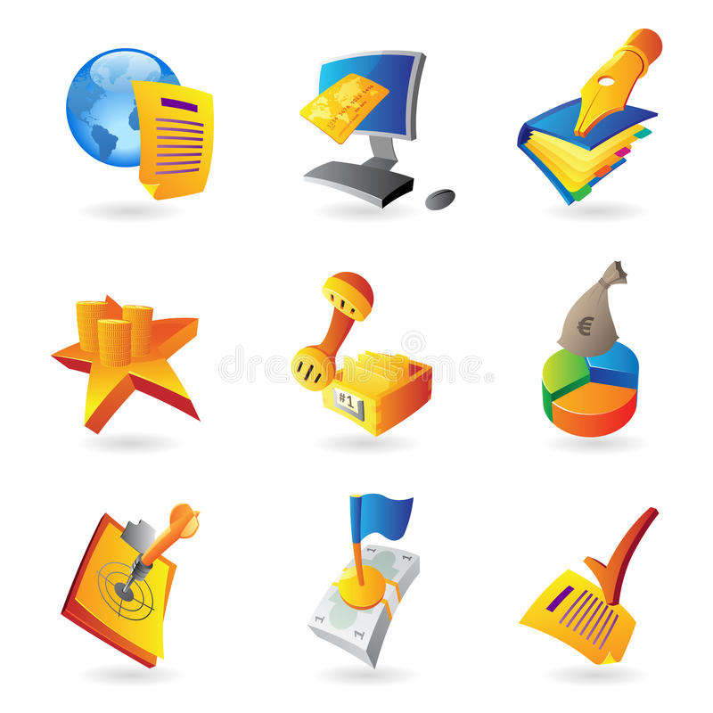 Download Icons For Business And Finance Stock Vector - Illustration: 23775086